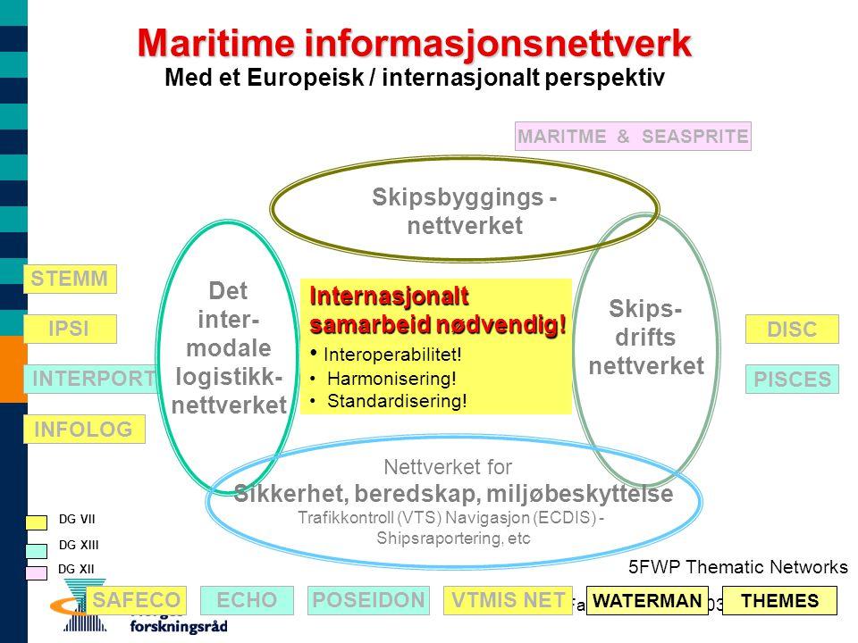 Fargis-seminar 05.03.03 Maritime informasjonsnettverk Med et Europeisk / internasjonalt perspektiv DISC PISCES STEMM IPSI INTERPORT INFOLOG ECHOPOSEID
