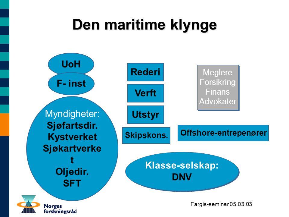 Fargis-seminar 05.03.03 Den maritime klynge Rederi Verft UoH F- inst Myndigheter: Sjøfartsdir. Kystverket Sjøkartverke t Oljedir. SFT Myndigheter: Sjø