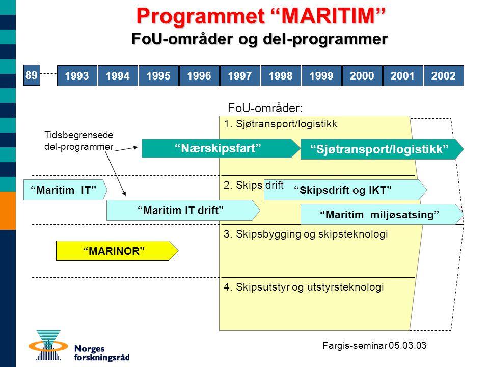 Fargis-seminar 05.03.03 Tall fra MARITIM programmet