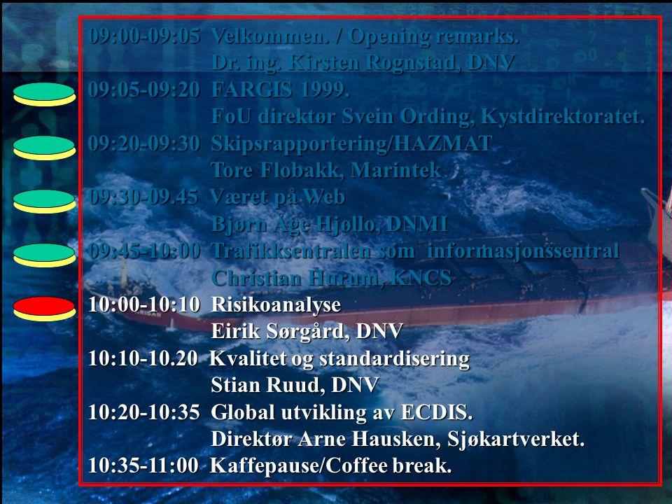09:00-09:05 Velkommen. / Opening remarks. Dr. ing. Kirsten Rognstad, DNV Dr. ing. Kirsten Rognstad, DNV 09:05-09:20 FARGIS 1999. FoU direktør Svein Or