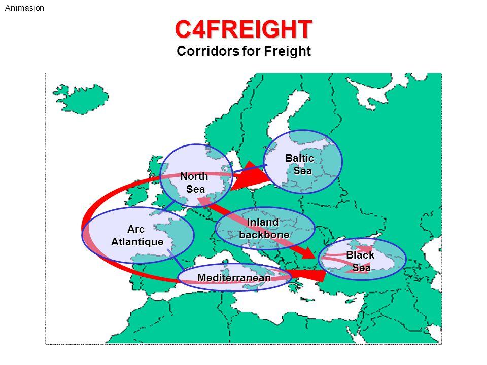 C4FREIGHT C4FREIGHT Corridors for Freight ArcAtlantique BalticSea BlackSea NorthSea Mediterranean Inlandbackbone Animasjon