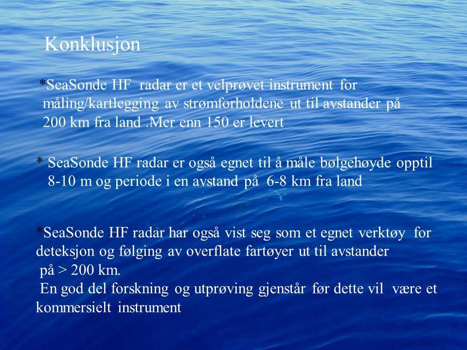 Konklusjon *SeaSonde HF radar er et velprøvet instrument for måling/kartlegging av strømforholdene ut til avstander på 200 km fra land.Mer enn 150 er