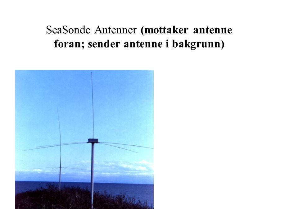 SeaSonde Antenner (mottaker antenne foran; sender antenne i bakgrunn)