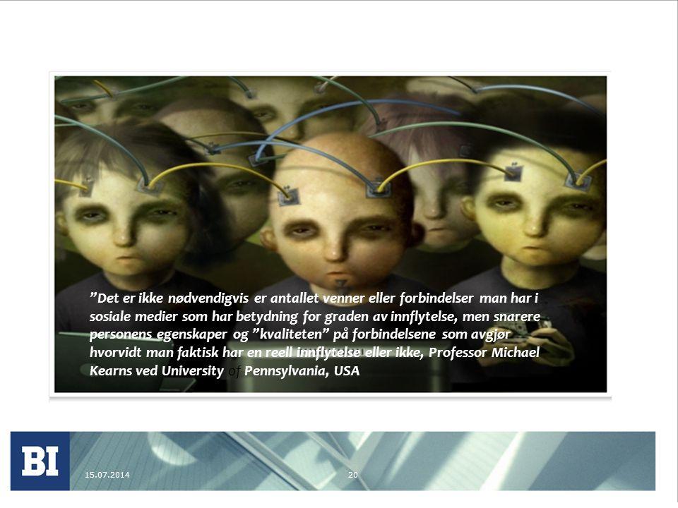 15.07.201420 Det er ikke nødvendigvis er antallet venner eller forbindelser man har i sosiale medier som har betydning for graden av innflytelse, men snarere personens egenskaper og kvaliteten på forbindelsene som avgjør hvorvidt man faktisk har en reell innflytelse eller ikke, Professor Michael Kearns ved University of Pennsylvania, USA