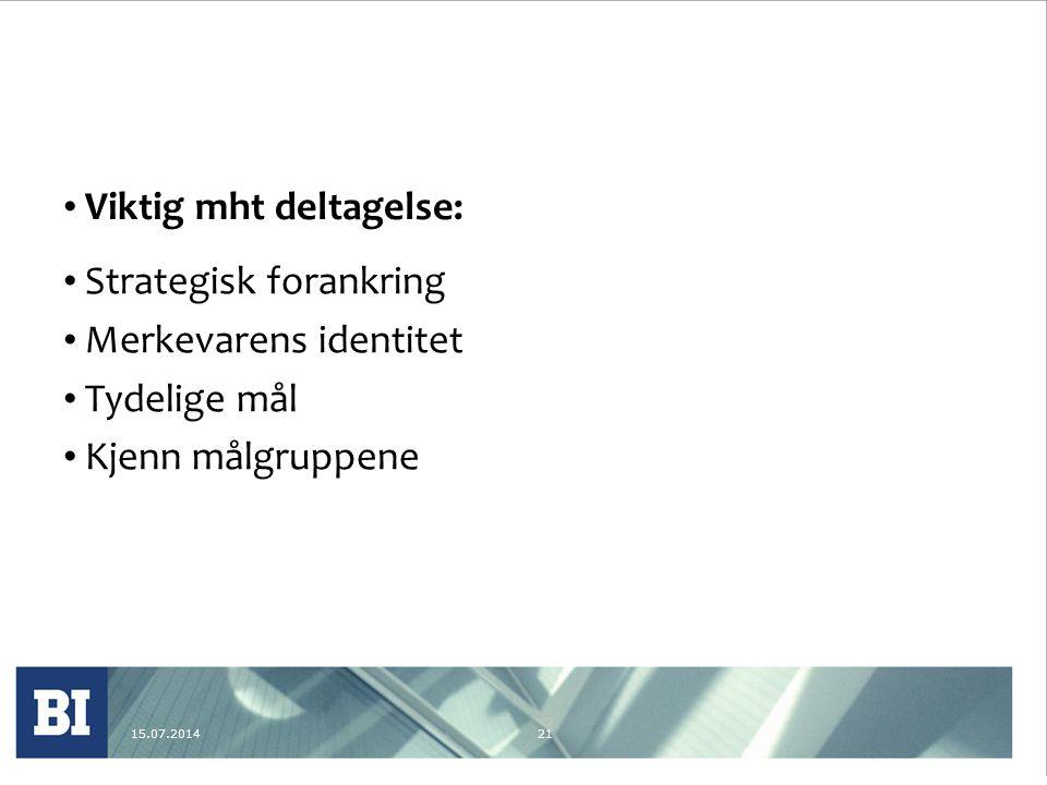 15.07.201421 Viktig mht deltagelse: Strategisk forankring Merkevarens identitet Tydelige mål Kjenn målgruppene