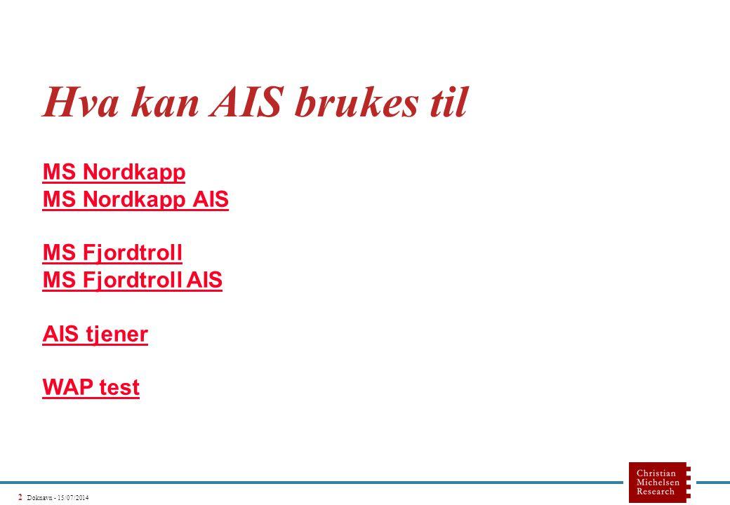 2 Doknavn - 15/07/2014 Hva kan AIS brukes til MS Nordkapp MS Nordkapp AIS MS Fjordtroll MS Fjordtroll AIS AIS tjener WAP test