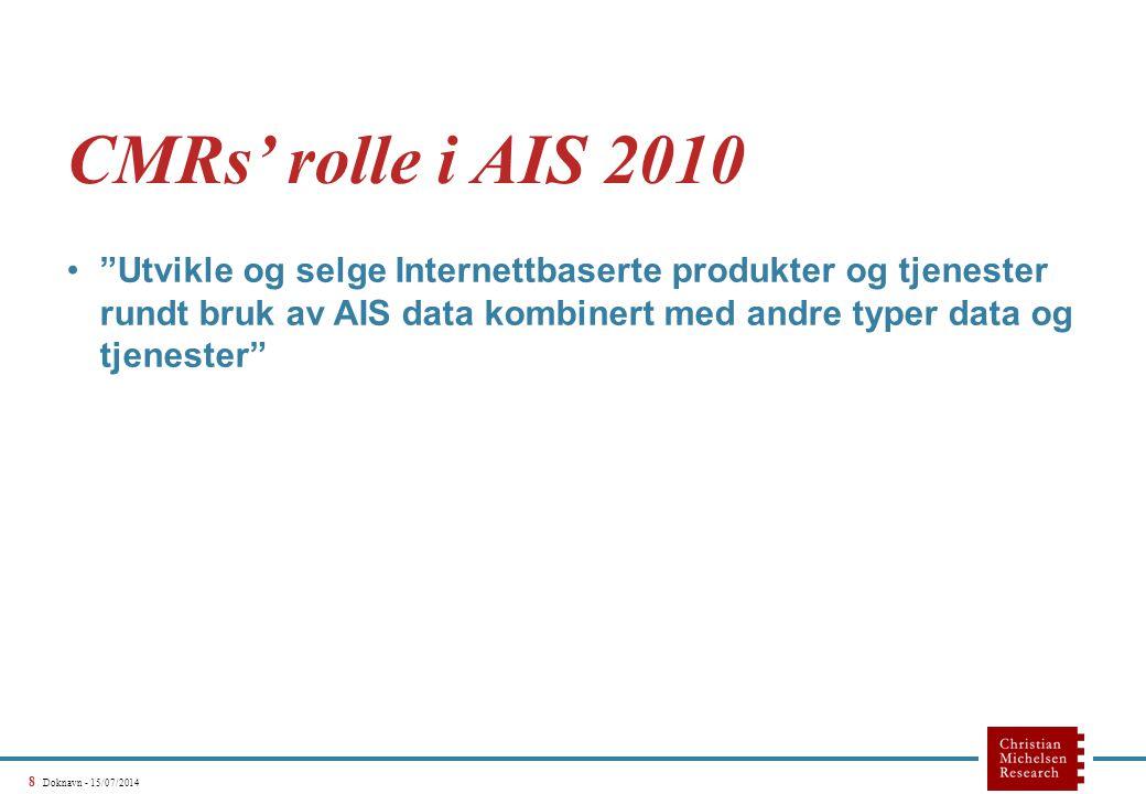 """8 Doknavn - 15/07/2014 CMRs' rolle i AIS 2010 """"Utvikle og selge Internettbaserte produkter og tjenester rundt bruk av AIS data kombinert med andre typ"""
