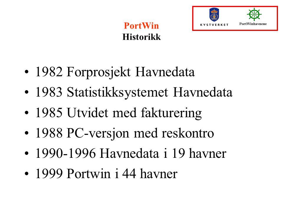 PortWin Historikk 1982 Forprosjekt Havnedata 1983 Statistikksystemet Havnedata 1985 Utvidet med fakturering 1988 PC-versjon med reskontro 1990-1996 Ha