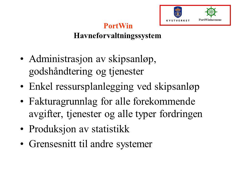 PortWin Havneforvaltningssystem Administrasjon av skipsanløp, godshåndtering og tjenester Enkel ressursplanlegging ved skipsanløp Fakturagrunnlag for