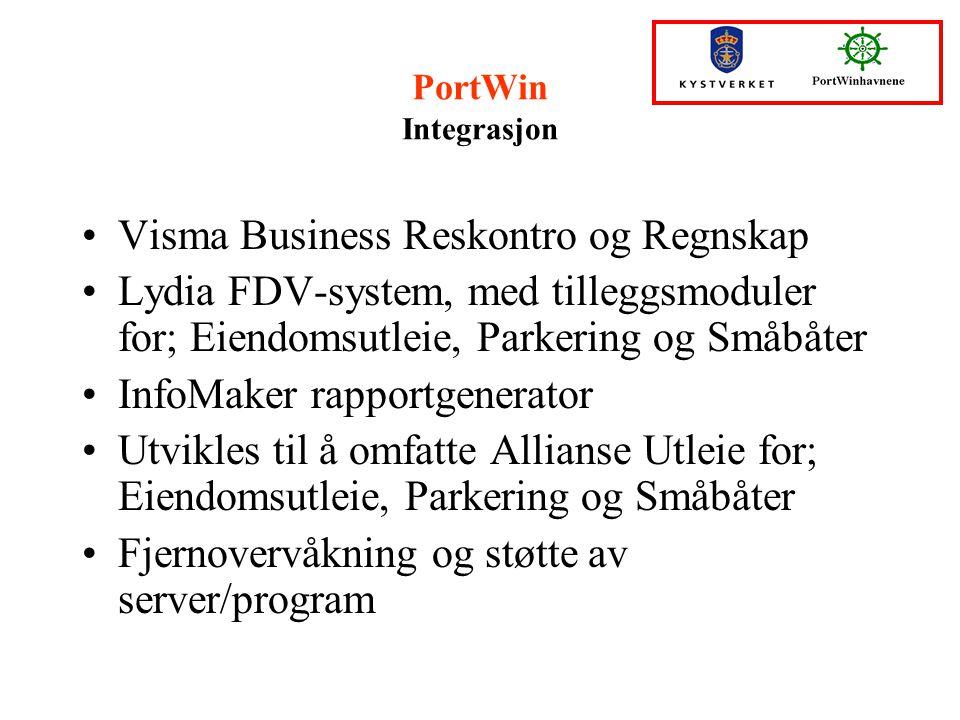 PortWin Integrasjon Visma Business Reskontro og Regnskap Lydia FDV-system, med tilleggsmoduler for; Eiendomsutleie, Parkering og Småbåter InfoMaker ra