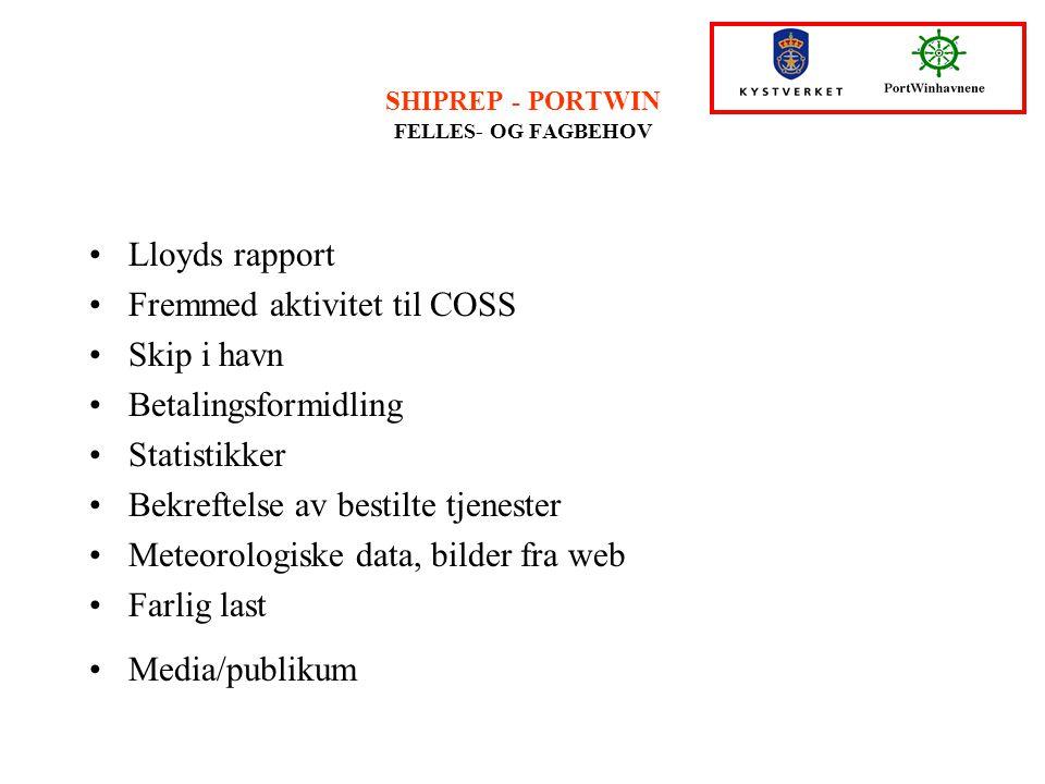 SHIPREP - PORTWIN FELLES- OG FAGBEHOV Lloyds rapport Fremmed aktivitet til COSS Skip i havn Betalingsformidling Statistikker Bekreftelse av bestilte t
