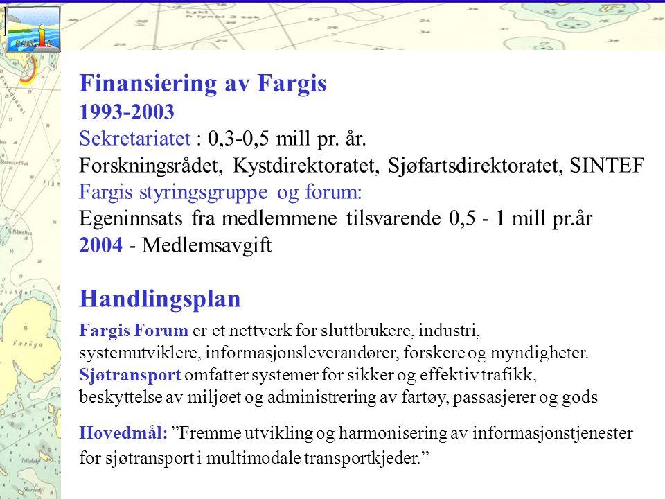 Finansiering av Fargis 1993-2003 Sekretariatet : 0,3-0,5 mill pr.