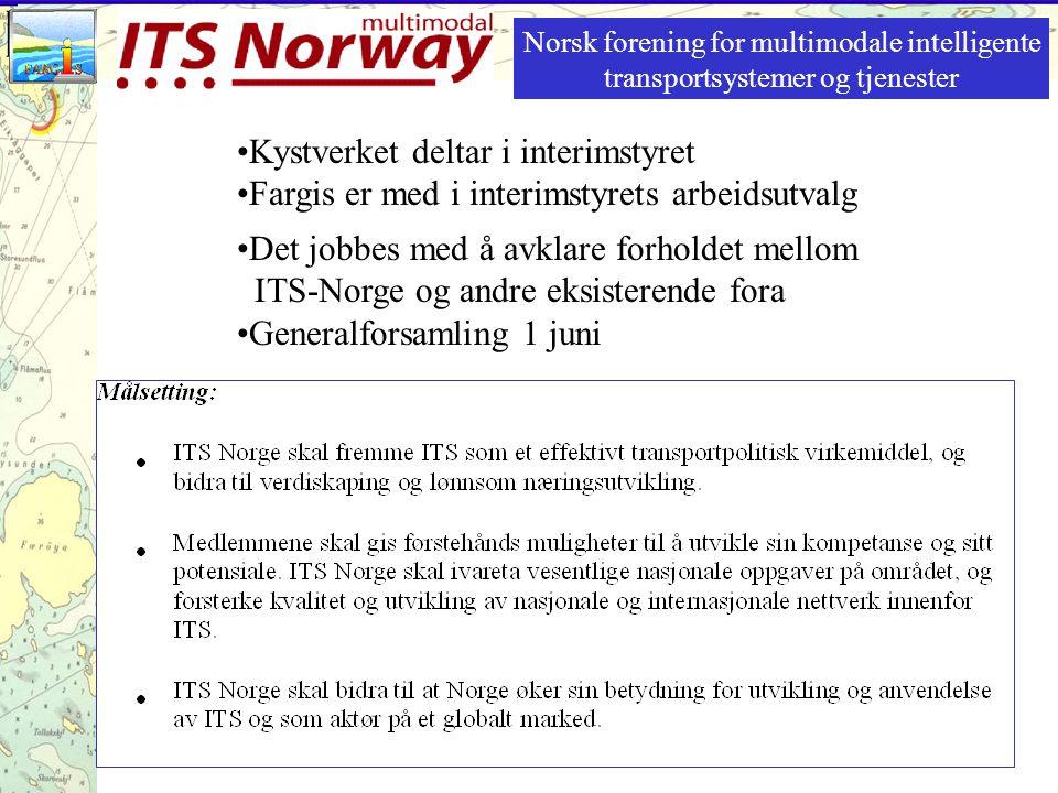 Det jobbes med å avklare forholdet mellom ITS-Norge og andre eksisterende fora Generalforsamling 1 juni Norsk forening for multimodale intelligente transportsystemer og tjenester Kystverket deltar i interimstyret Fargis er med i interimstyrets arbeidsutvalg