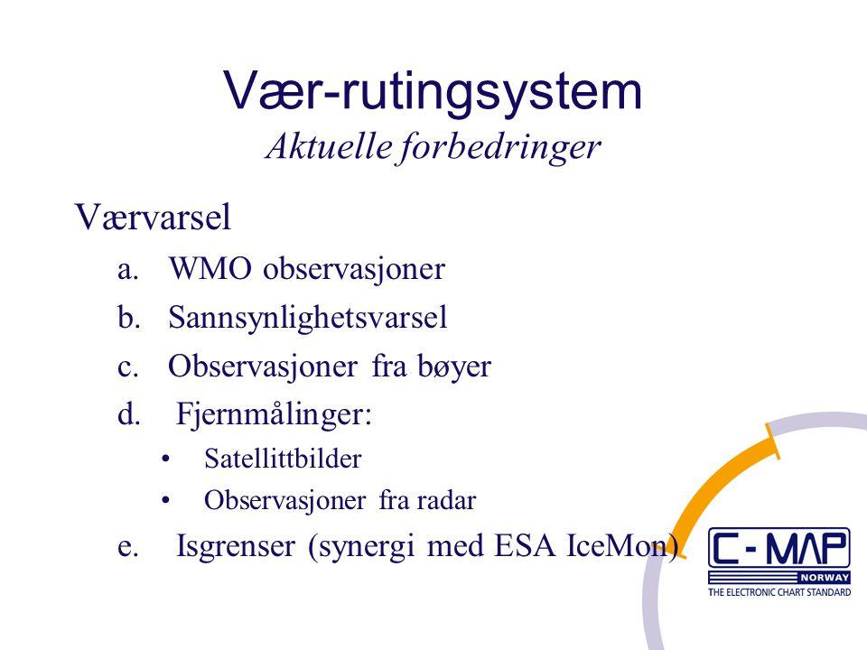 Vær-rutingsystem Aktuelle forbedringer Værvarsel a.WMO observasjoner b.Sannsynlighetsvarsel c.Observasjoner fra bøyer d.