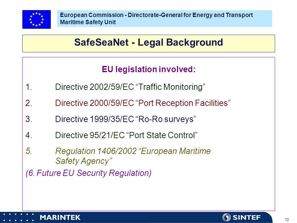 """MARINTEK 10 EU legislation involved: 1.Directive 2002/59/EC """"Traffic Monitoring"""" 2. Directive 2000/59/EC """"Port Reception Facilities"""" 3. Directive 1999"""