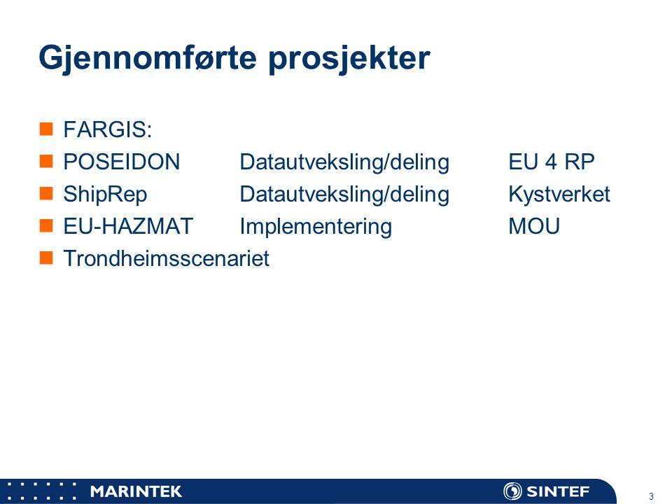 MARINTEK 3 Gjennomførte prosjekter FARGIS: POSEIDONDatautveksling/delingEU 4 RP ShipRepDatautveksling/delingKystverket EU-HAZMATImplementeringMOU Tron