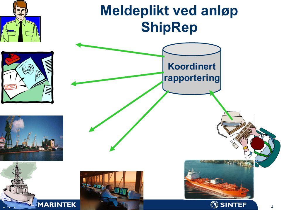 MARINTEK 4 Koordinert rapportering Meldeplikt ved anløp ShipRep