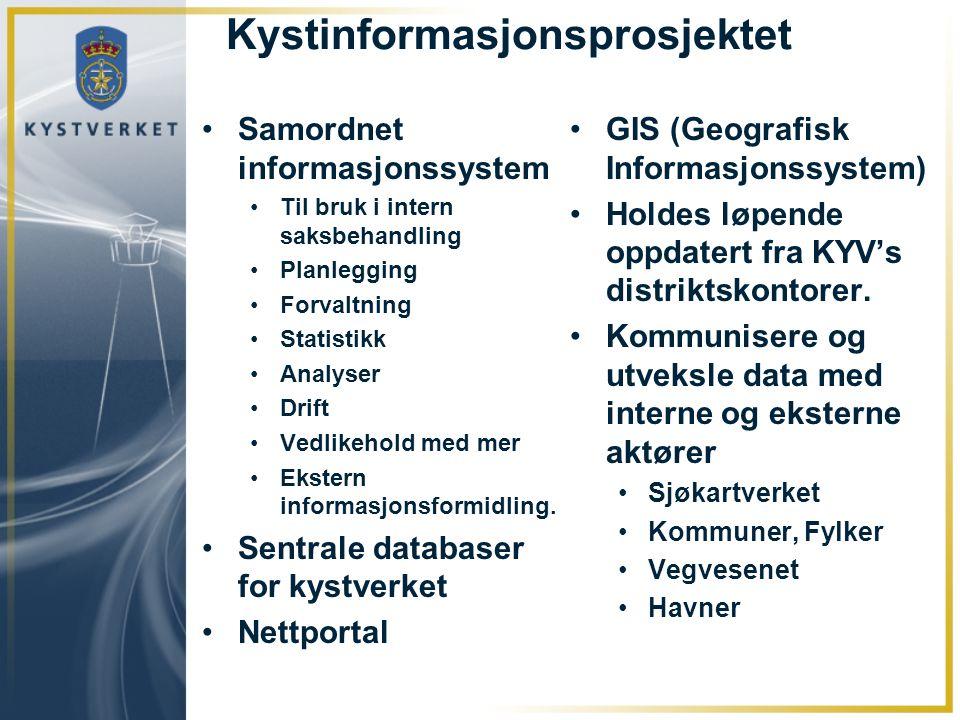 Kystinformasjonsprosjektet Samordnet informasjonssystem Til bruk i intern saksbehandling Planlegging Forvaltning Statistikk Analyser Drift Vedlikehold med mer Ekstern informasjonsformidling.