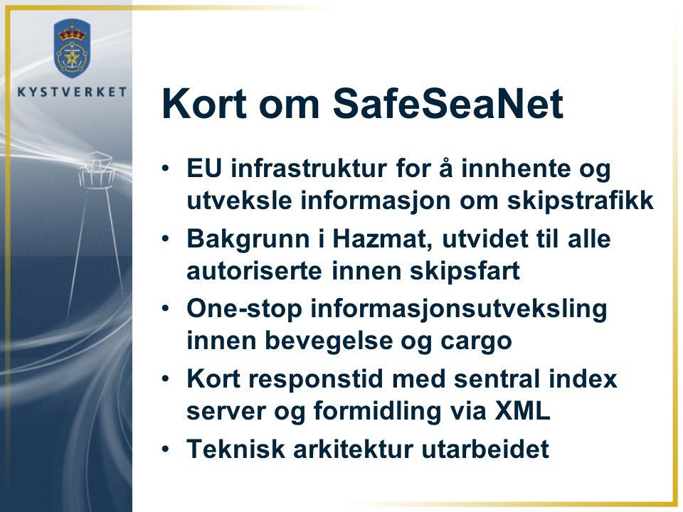 Kort om SafeSeaNet EU infrastruktur for å innhente og utveksle informasjon om skipstrafikk Bakgrunn i Hazmat, utvidet til alle autoriserte innen skips