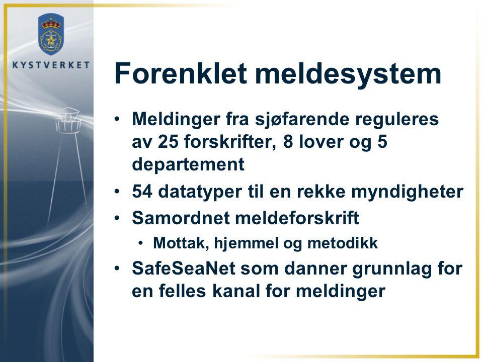 Forenklet meldesystem Meldinger fra sjøfarende reguleres av 25 forskrifter, 8 lover og 5 departement 54 datatyper til en rekke myndigheter Samordnet m