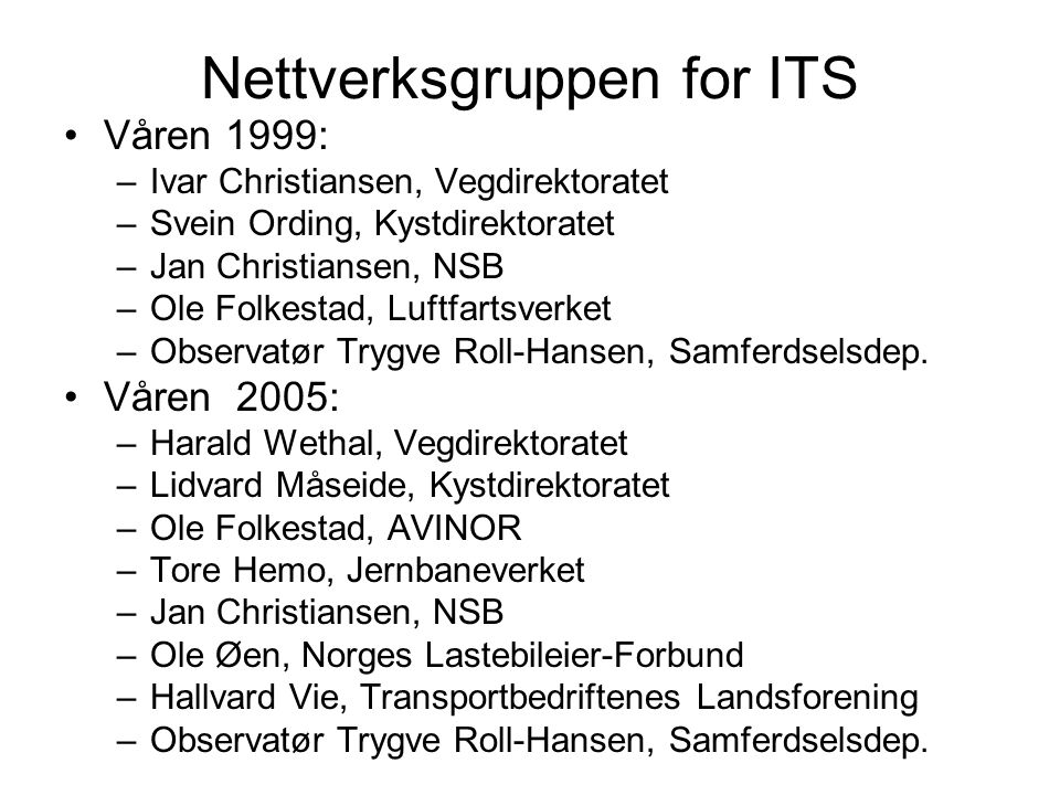 Nettverksgruppen for ITS Våren 1999: –Ivar Christiansen, Vegdirektoratet –Svein Ording, Kystdirektoratet –Jan Christiansen, NSB –Ole Folkestad, Luftfa