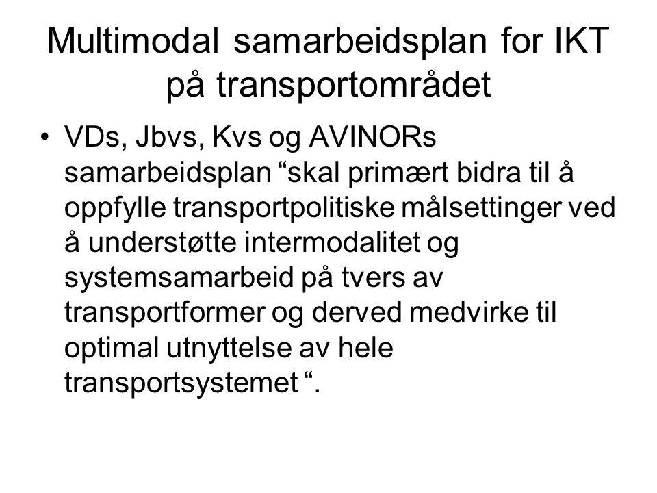 """Multimodal samarbeidsplan for IKT på transportområdet VDs, Jbvs, Kvs og AVINORs samarbeidsplan """"skal primært bidra til å oppfylle transportpolitiske m"""