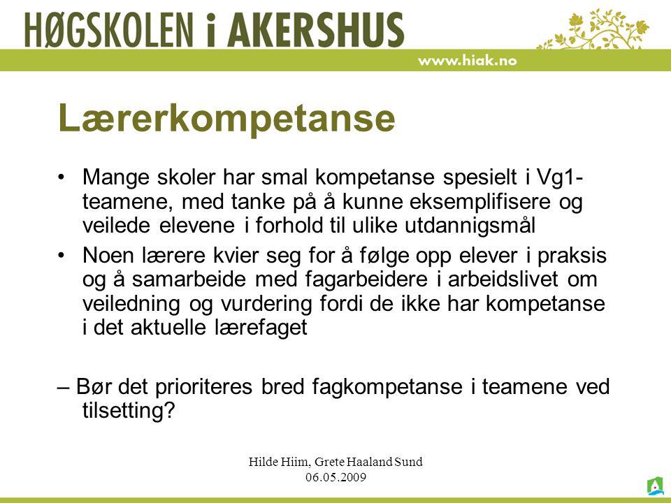 Hilde Hiim, Grete Haaland Sund 06.05.2009 Lærerkompetanse Mange skoler har smal kompetanse spesielt i Vg1- teamene, med tanke på å kunne eksemplifiser