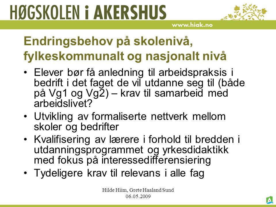 Hilde Hiim, Grete Haaland Sund 06.05.2009 Endringsbehov på skolenivå, fylkeskommunalt og nasjonalt nivå Elever bør få anledning til arbeidspraksis i b