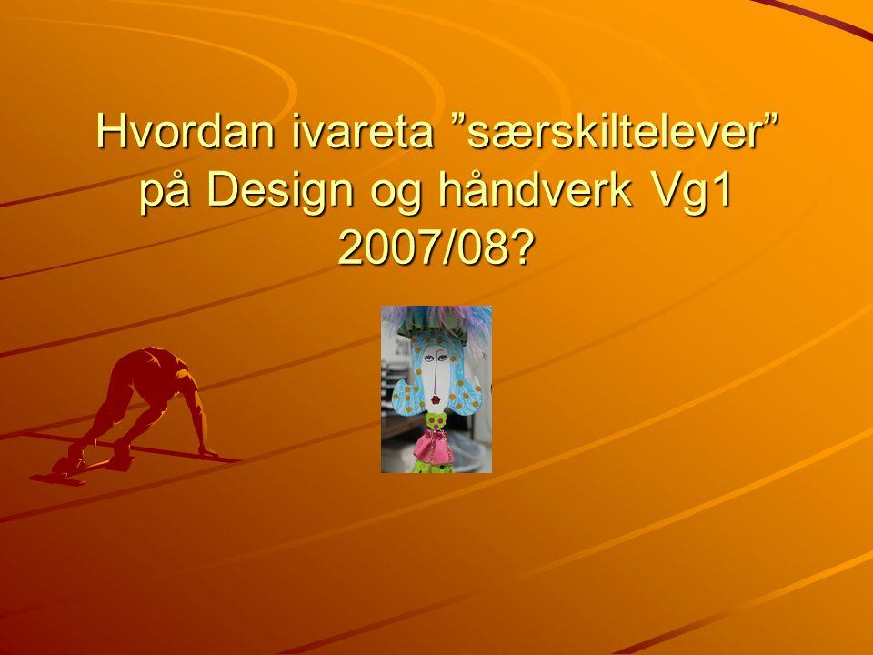 """Hvordan ivareta """"særskiltelever"""" på Design og håndverk Vg1 2007/08?"""