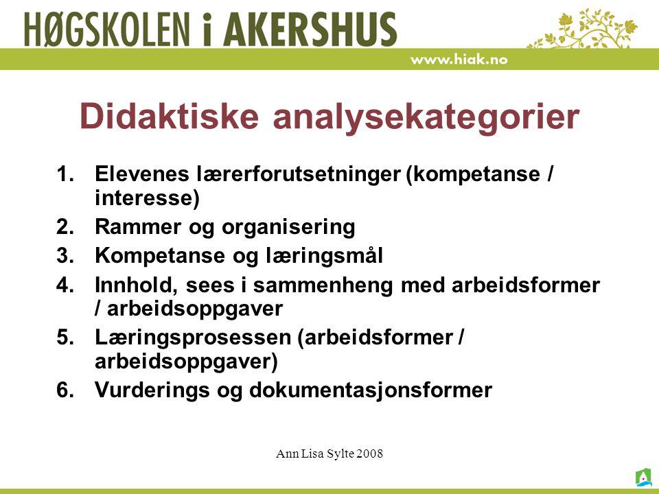 Ann Lisa Sylte 2008 Elevenes lærerforutsetninger (kompetanse / interesse) Analyser læringsforutsetninger i forhold til opplevelse av relevans, mening, samt demokrati og medvirkning: Hvilke forutsetninger/ kompetanse/ interesser har elevene for å lære.