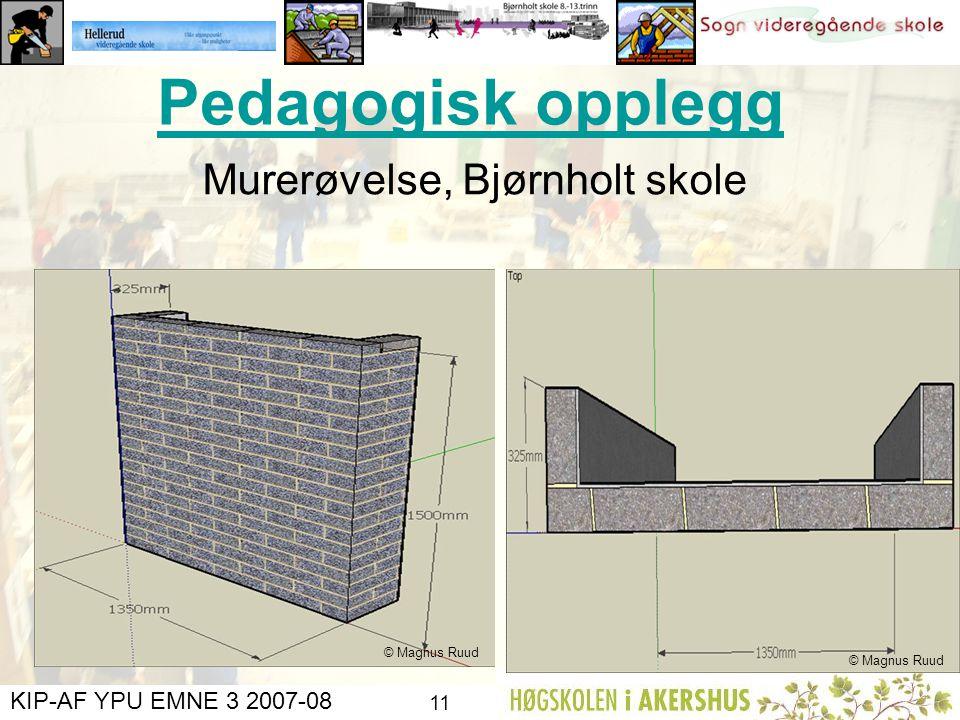 KIP-AF YPU EMNE 3 2007-08 10 2. Regn ut: Volum av den mengde betong som går med til å støpe veggen. a). I kubikkmeter, m3 (Tips: Gjør først om fra mm