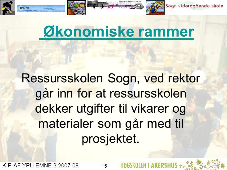 KIP-AF YPU EMNE 3 2007-08 14 Elevmedvirkning Lærere som arbeider mot samme mål Utvikle en lærende organisasjon Dra fellesfagene enda tettere inn i yrk