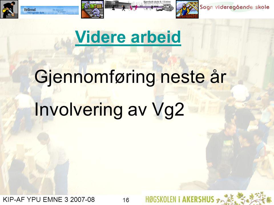 KIP-AF YPU EMNE 3 2007-08 15 Ressursskolen Sogn, ved rektor går inn for at ressursskolen dekker utgifter til vikarer og materialer som går med til pro