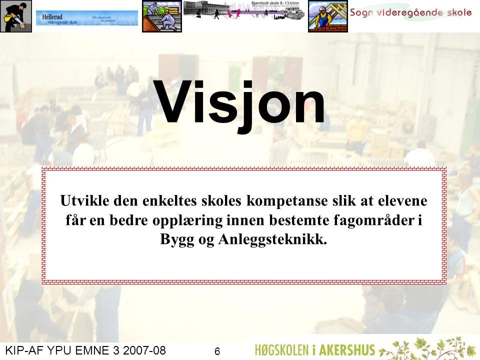 KIP-AF YPU EMNE 3 2007-08 5 Organisering Sogn: Har ansvar for gjennomføring av øvelser i fag som rekrutterer til Vg2 KEM Bjørnholt: Har ansvar for gje
