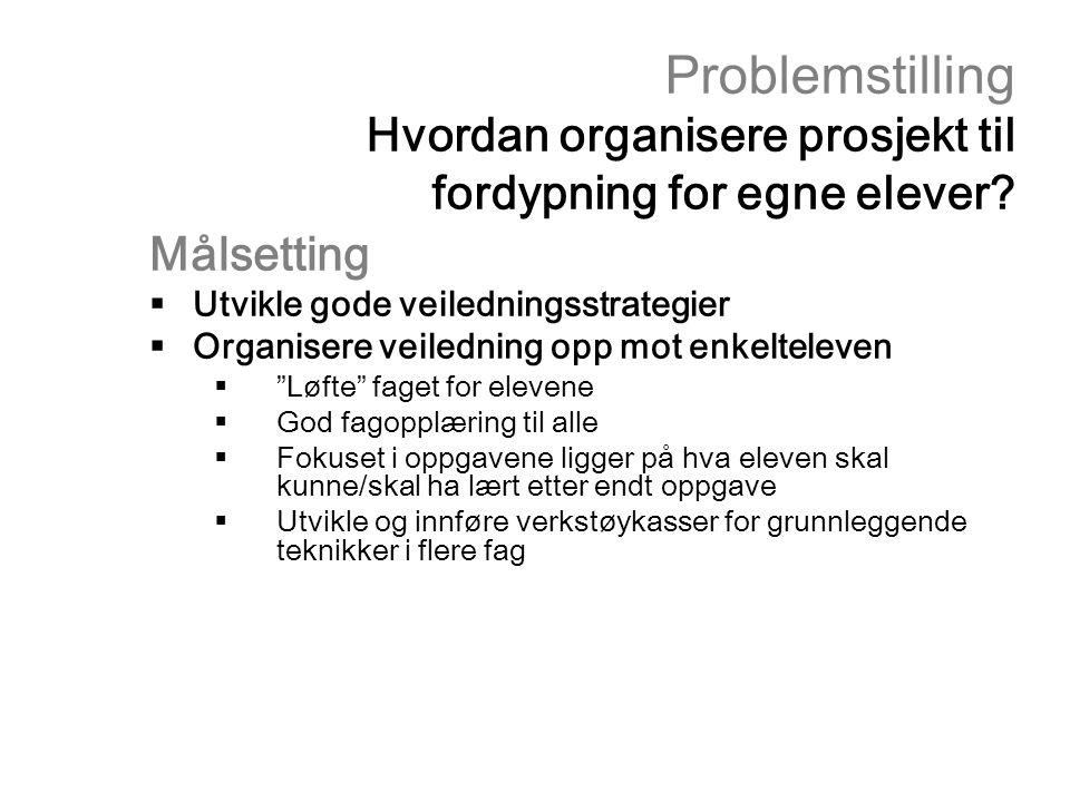 Problemstilling Hvordan organisere prosjekt til fordypning for egne elever? Målsetting  Utvikle gode veiledningsstrategier  Organisere veiledning op