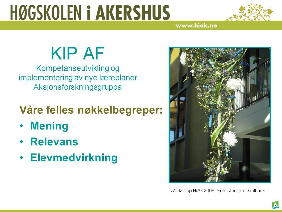 KIP AF Kompetanseutvikling og implementering av nye læreplaner Aksjonsforskningsgruppa Våre felles nøkkelbegreper: Mening Relevans Elevmedvirkning Wor