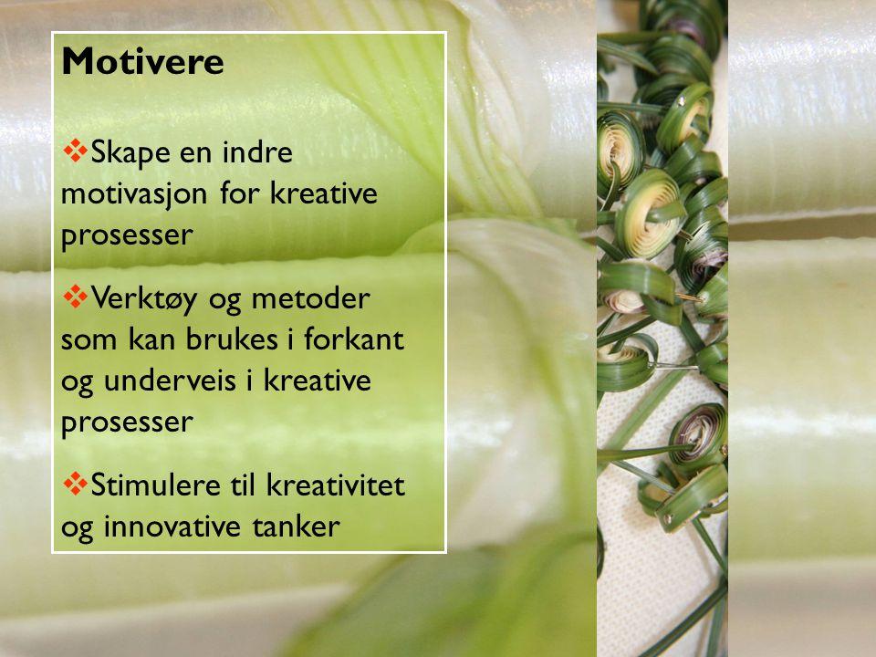 Motivere  Skape en indre motivasjon for kreative prosesser  Verktøy og metoder som kan brukes i forkant og underveis i kreative prosesser  Stimuler