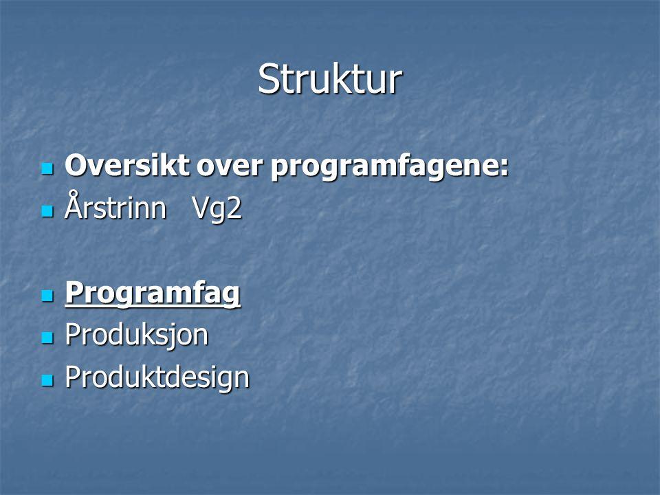 Struktur Oversikt over programfagene: Oversikt over programfagene: Årstrinn Vg2 Årstrinn Vg2 Programfag Programfag Produksjon Produksjon Produktdesign