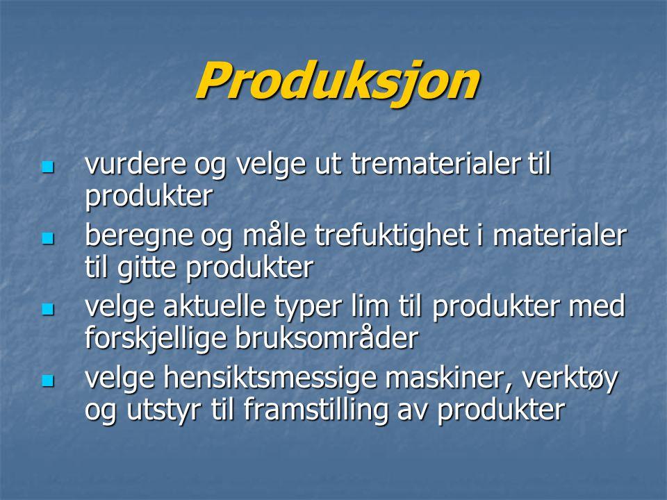 Produksjon vurdere og velge ut trematerialer til produkter vurdere og velge ut trematerialer til produkter beregne og måle trefuktighet i materialer t