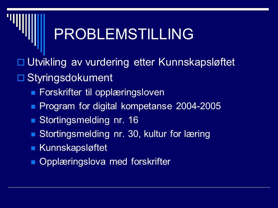 PROBLEMSTILLING  Utvikling av vurdering etter Kunnskapsløftet  Styringsdokument Forskrifter til opplæringsloven Program for digital kompetanse 2004-