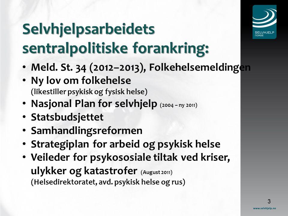 3 Selvhjelpsarbeidets sentralpolitiske forankring: Meld.