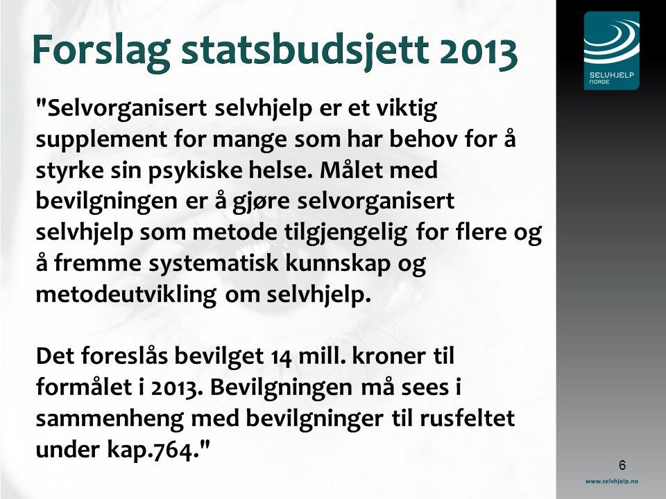 Forslag statsbudsjett 2013 Selvorganisert selvhjelp er et viktig supplement for mange som har behov for å styrke sin psykiske helse.