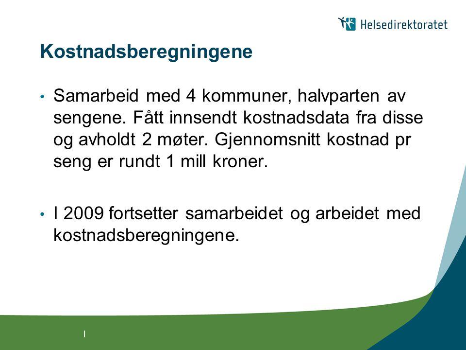 | Kostnadsberegningene Samarbeid med 4 kommuner, halvparten av sengene.