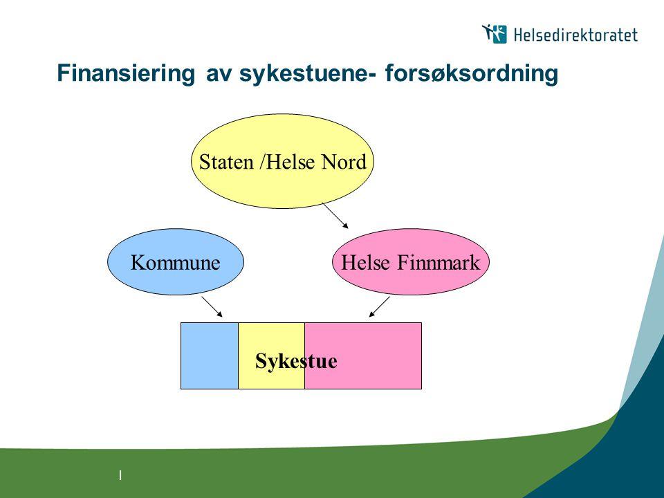 | Finansiering av sykestuene- forsøksordning Staten /Helse Nord KommuneHelse Finnmark Sykestue