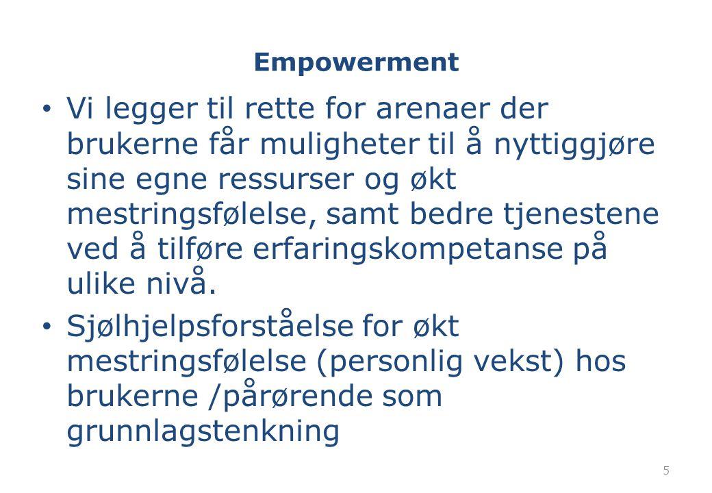 Empowerment Vi legger til rette for arenaer der brukerne får muligheter til å nyttiggjøre sine egne ressurser og økt mestringsfølelse, samt bedre tjen