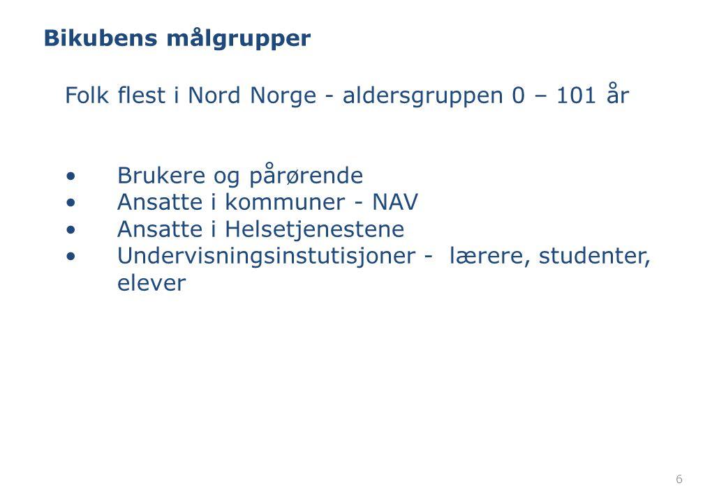 Bikubens målgrupper 6 Folk flest i Nord Norge - aldersgruppen 0 – 101 år Brukere og pårørende Ansatte i kommuner - NAV Ansatte i Helsetjenestene Under