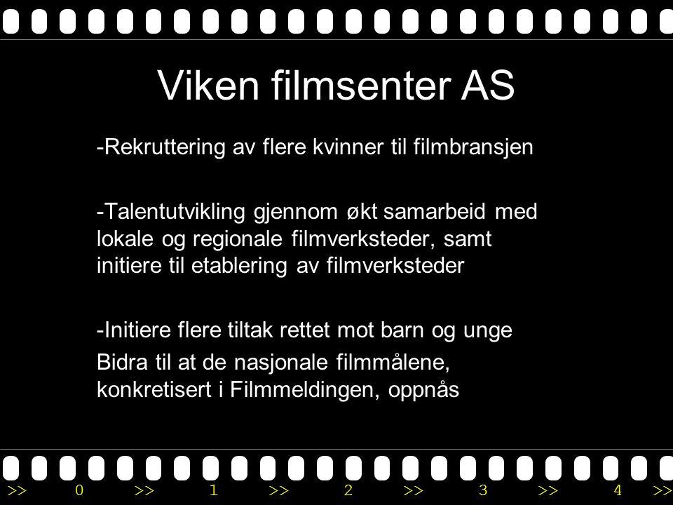 >>0 >>1 >> 2 >> 3 >> 4 >> Viken filmsenter AS -Rekruttering av flere kvinner til filmbransjen -Talentutvikling gjennom økt samarbeid med lokale og regionale filmverksteder, samt initiere til etablering av filmverksteder -Initiere flere tiltak rettet mot barn og unge Bidra til at de nasjonale filmmålene, konkretisert i Filmmeldingen, oppnås