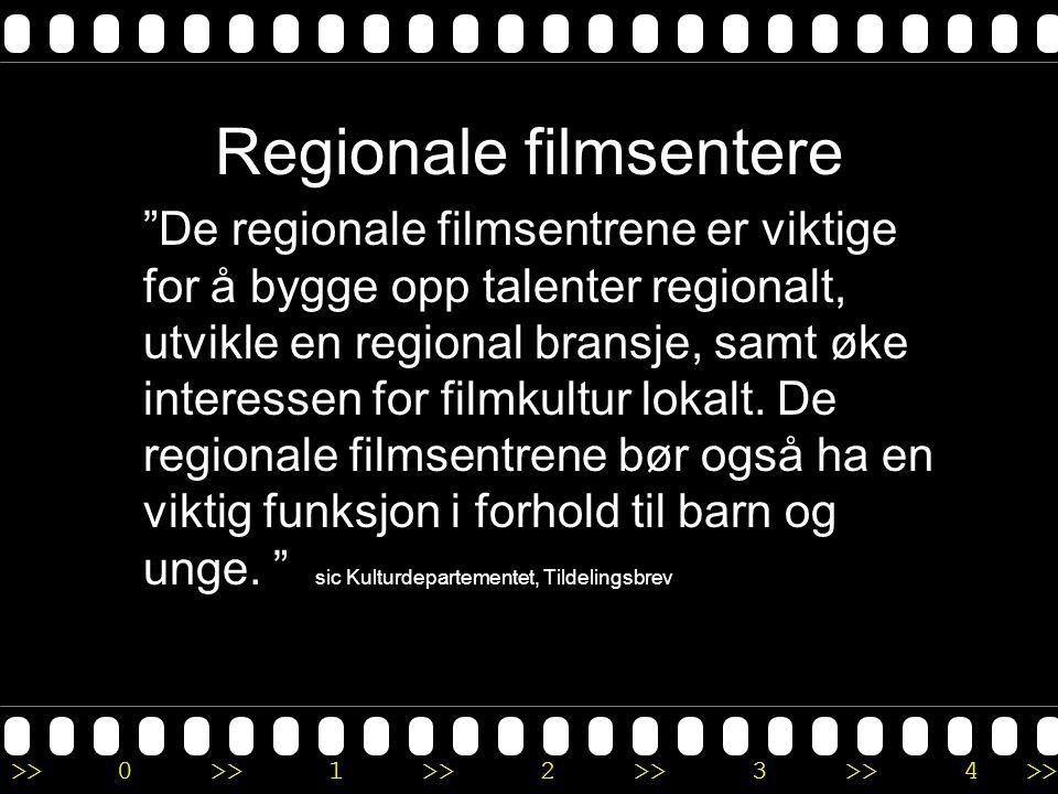 >>0 >>1 >> 2 >> 3 >> 4 >> Regionale filmsentere De regionale filmsentrene er viktige for å bygge opp talenter regionalt, utvikle en regional bransje, samt øke interessen for filmkultur lokalt.