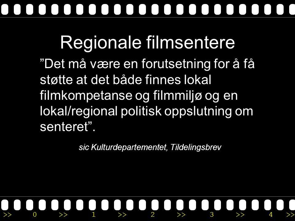 >>0 >>1 >> 2 >> 3 >> 4 >> Regionale filmsentere Det må være en forutsetning for å få støtte at det både finnes lokal filmkompetanse og filmmiljø og en lokal/regional politisk oppslutning om senteret .