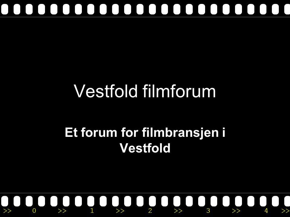 >>0 >>1 >> 2 >> 3 >> 4 >> Vestfold filmforum - Samle bransjen i Vestfold - Skape interesse for film og multimedie- produksjon som attraktiv næringsgren og viktig kulturpolitisk område - Skape gode utviklingsmuligheter for filmen i fylket - Være koordinator og ressurssenter
